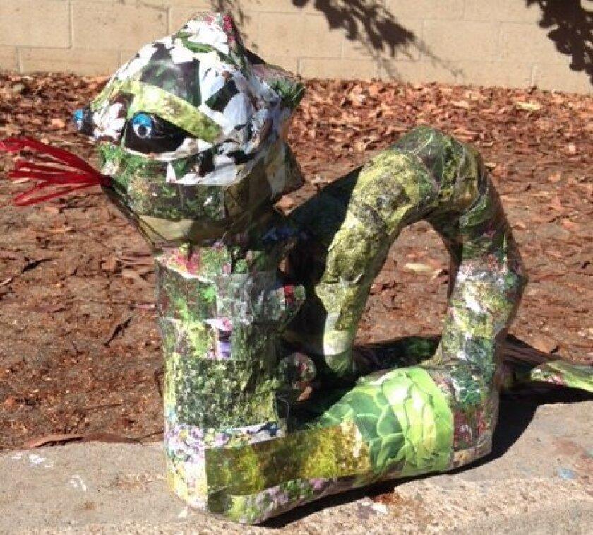 Katy Rhodes created a papier-mache serpent.