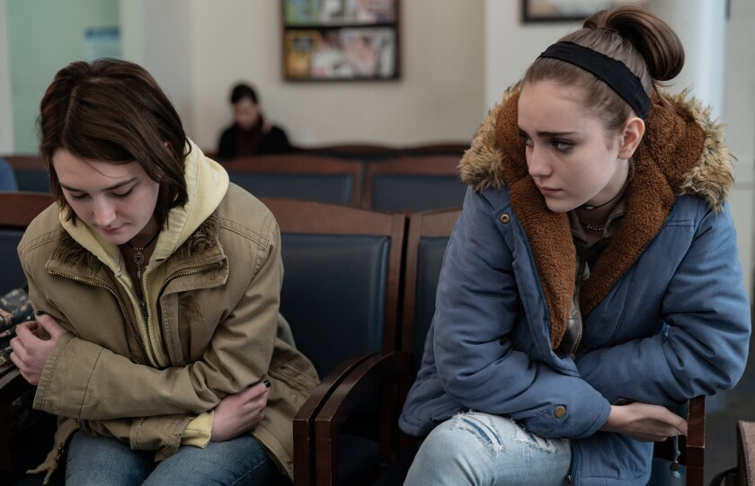 Sidney Flanigan and Talia Ryder in the movie 'Never Rarely Sometimes Always'