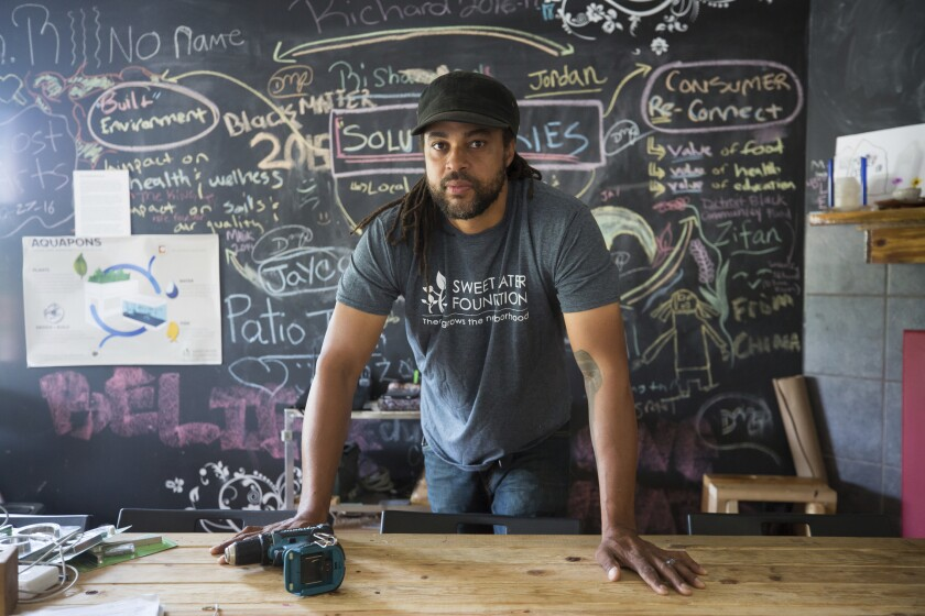 This Aug. 30, 2019 photo shows MacArthur Foundation fellow Emmanuel Pratt, an urban designer with the Sweet Water Foundation in Chicago. Pratt is co-founder and executive director of the foundation, a nonprofit organization based on Chicago's South Side that engages local residents in the cultivation and regeneration of social, environmental, and economic resources in their neighborhoods. The MacArthur Foundation on Wednesday, Sept. 25, 2019, named 26 people it believes have shown exceptional creativity and accomplishment and will continue to do so. (John D. and Catherine T. MacArthur Foundation via AP)