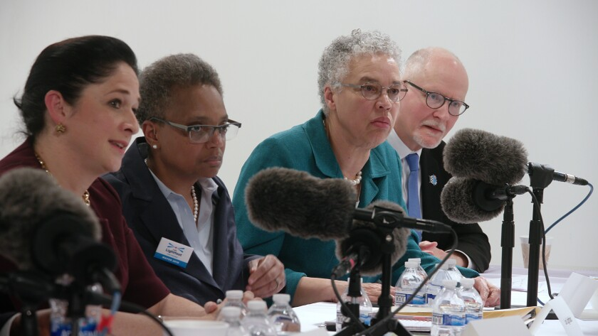 Chicago 2018 mayoral candidates Susana Mendoza, from left, Lori Lightfoot, Toni Preckwinkle and Paul Vallas.