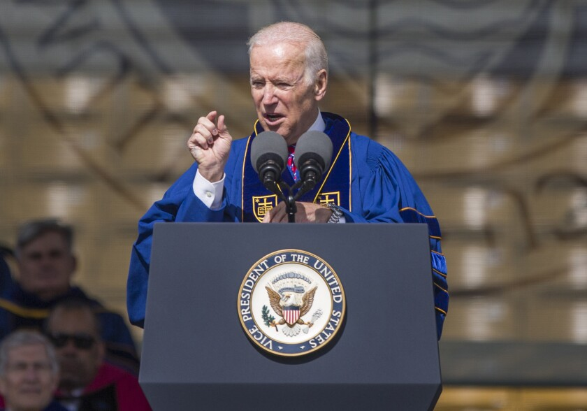 Vice President Joe Biden speaks at the University of Notre Dame commencement ceremony on Sunday, May 15, 2016, inside Notre Dame Stadium in South Bend