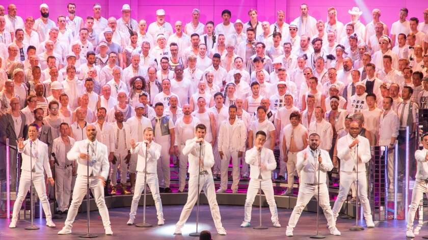 The Gay Men's Chorus of Los Angeles during its previous concert, a tribute to women singers, in April.