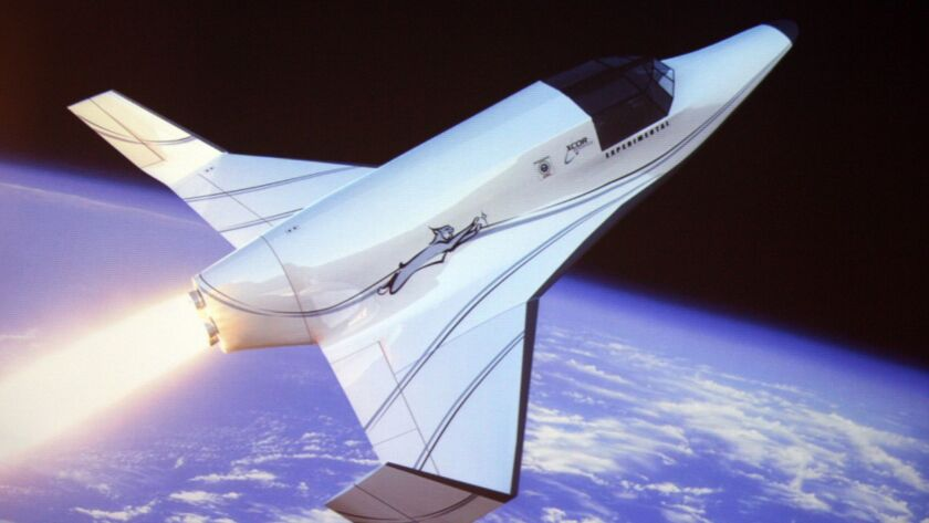 A rendering shows Xcor's Lynx, a two-seat rocket ship intended to take tourists on suborbital space flights.