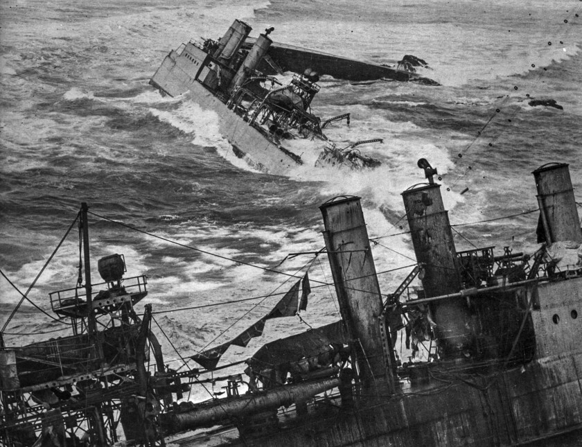 A black-and-white historical photo of Navy destroyers foundering at Honda Point