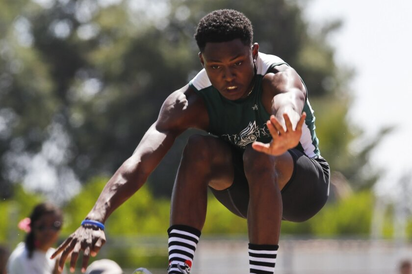 Oceanside senior Jordan Miller wins the triple jump at the San Diego Section track and field championships.