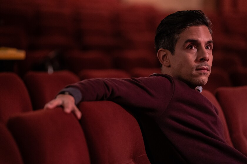 """Matthew Lopez watches a rehearsal of his play """"The Inheritance"""" as it is readied for Broadway."""