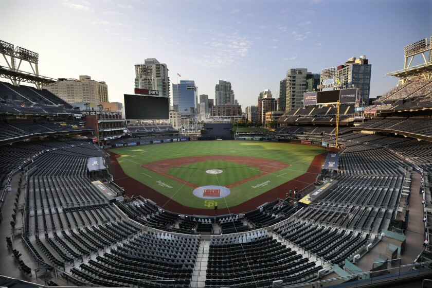 Petco Park sits empty after the Padres-Mariners game was postponed on Wednesday.