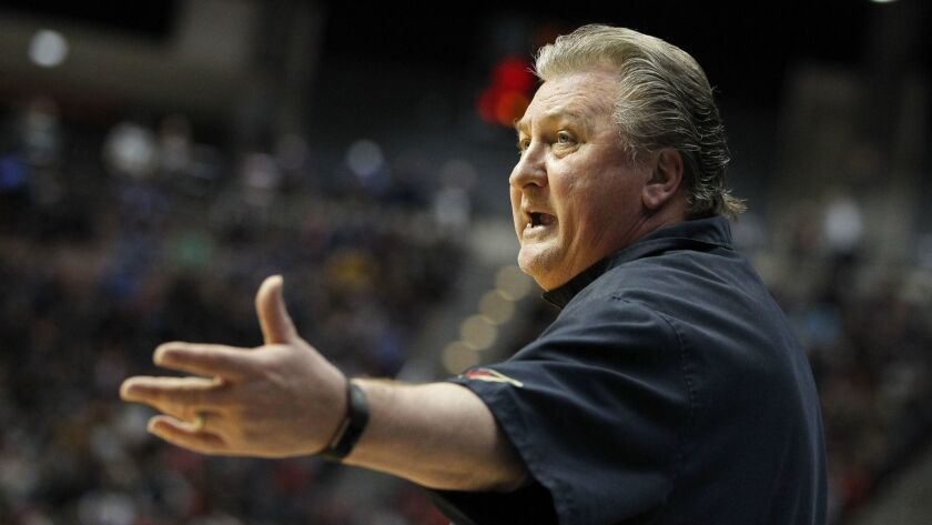SAN DIEGO, March 16, 2018 | West Virginia' coach Bob Huggins calls out to his players as they play M