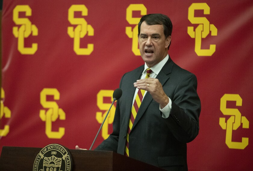 New USC athletic director Mike Bohn speaks during a news conference on Nov. 7, 2019.