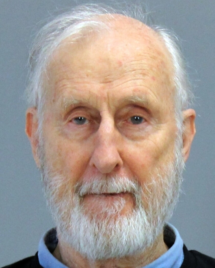 This Thursday, Oct. 31, 2019 photo provided by the Brazos County (Texas) Detention Center shows actor James Cromwell. Actor James Cromwell and Jeremy Beckham have been charged with disorderly conduct after police said they disrupted a meeting of the Texas A&M University System Board of Regents. (Brazos County (Texas) Detention Center via AP)
