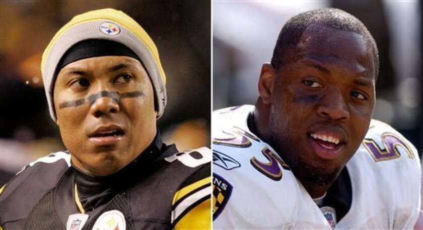 At left, in a Nov. 16, 2008 file photo, Pittsburgh Steelers football player Hines Ward is shown during an NFL game in Pittsburgh. At right, in a Sept. 30, 2007 file photo, Baltimore Ravens' Terrell Suggs is shown during an NFL game in Cleveland. (AP Photo/File)