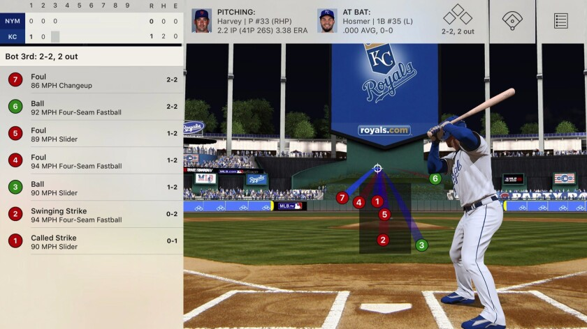 An iPad screen grab of MLB.tv's Gameday, a graphical depiction of every pitch and every swing from Major League Baseball games, in almost real time.
