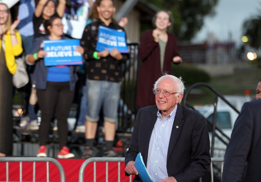 Presidential candidate Bernie Sanders spoke to thousands at Kimball Park in National City, CA Saturday evening. He will also speak Sunday in Vista and then leave San Diego County on his campaign before the June 7th California primary.