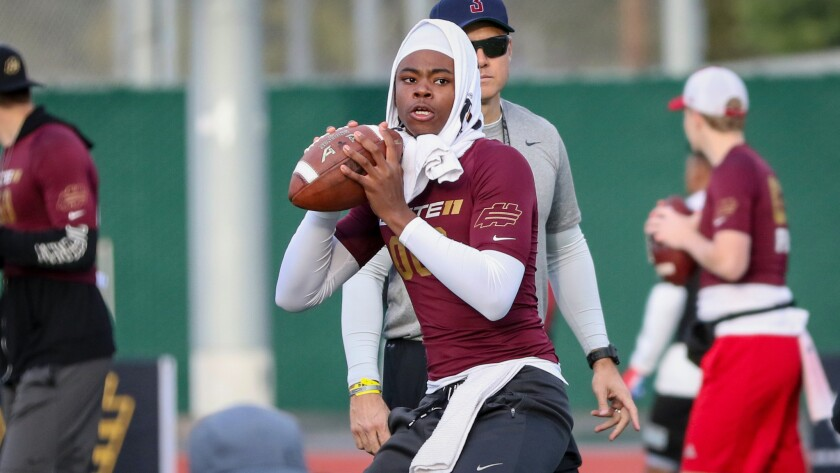 Gardena Serra quarterback Maalik Murphy drops back for a pass at the Opening Los Angeles regional at