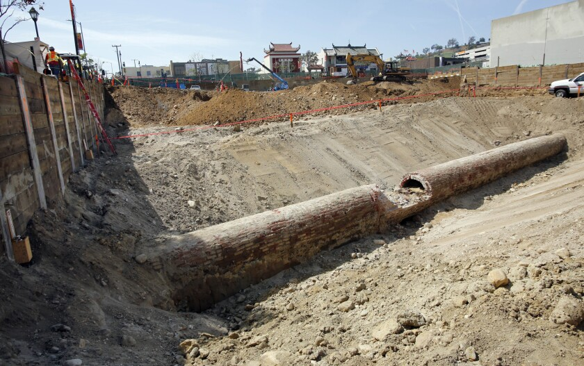 "A section of L.A.'s first municipal water system, the Zanja Madre, or ""Mother Ditch"", unearthed recently in Chinatown."