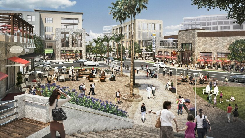 Rendering of a portion of One Paseo, a mixed use development proposed for San Diego's Carmel Valley community.