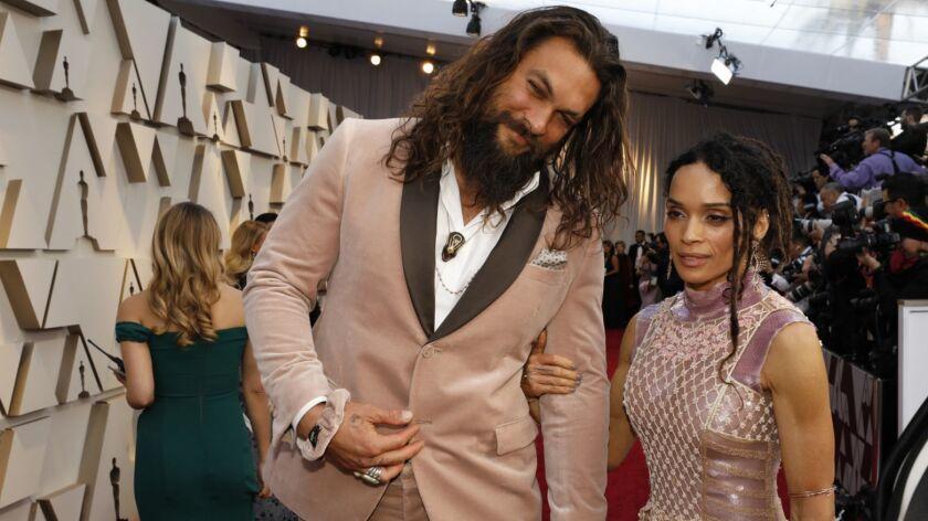 Jason Momoa and wife Lisa Bonet arrive at the 91st Academy Awards on Sunday.