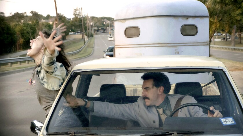 "Sacha Baron Cohen and Maria Bakalova in ""Borat Subsequent Moviefilm"" movie"