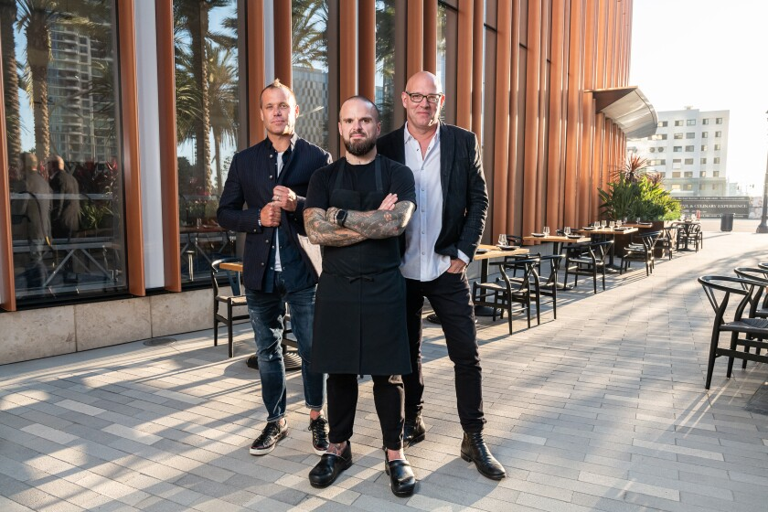 Brian Malarkey, Nate Appleman and Chris Puffer at Animae restaurant patio