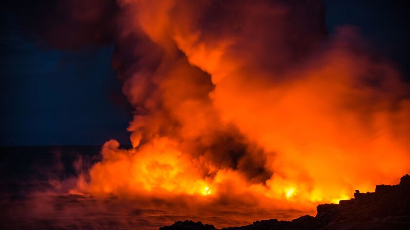 Lava is about 2,000 degrees when it hits the ocean.