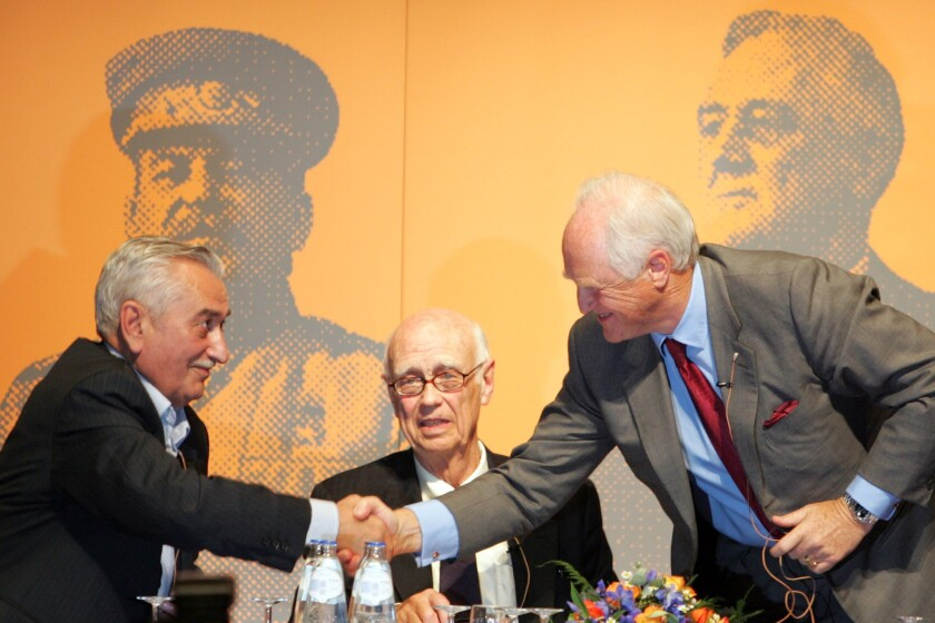From left, Jevgeni Dzjoegasjvili, Curtis Roosevelt and Winston Churchill , the grandsons of World War II leaders Stalin, Roosevelt and Churchill in Maastricht, Netherlands, on Oct. 1 2005 for a conference to commemorate the Yalta agreement signed by their grandfathers.