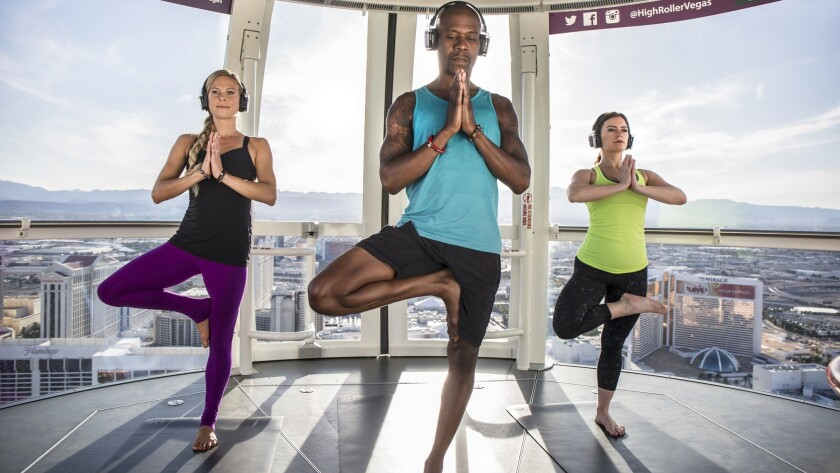 Yoga sessions in the High Roller in Vegas