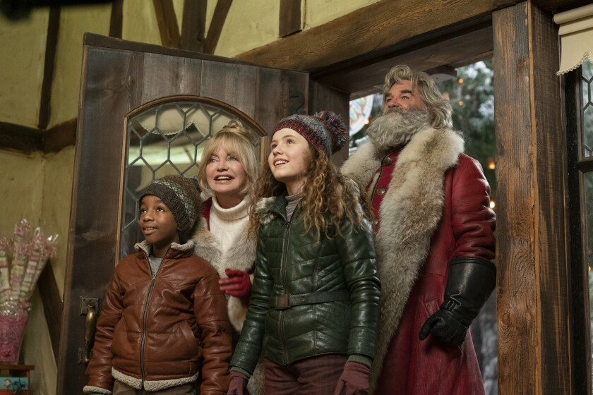 """""""The Christmas Chronicles: Part Two"""" with Goldie Hawn as Mrs. Claus and Kurt Russell as Santa."""