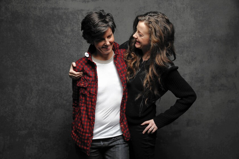 """Tig Notaro, left, and fiancee Stephanie Allynne from the movie """"Tig"""" at the L.A. Times photo & video studio at the Sundance Film Festival on Jan. 25, 2015."""