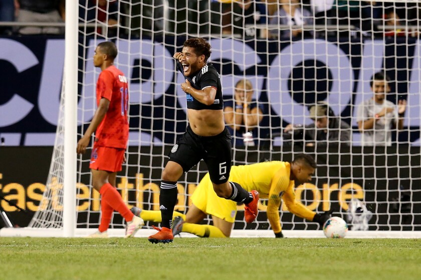 Jonathan dos Santos #6 of the Mexico celebrates after scoring a goal in the second half against the United States during the 2019 CONCACAF Gold Cup Final at Soldier Field on July 07, 2019 in Chicago, Illinois.