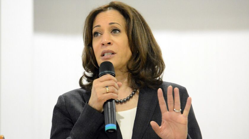 In this March 9, 2019, photo, Sen. Kamala Harris, D-Calif., speaks during an event in St. George, S.