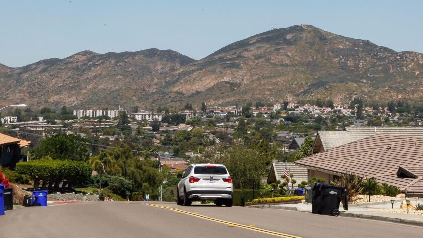 View of Mission Trails Regional Park from Madra Avenue in the Del Cerro neighborhood of San Diego, California.
