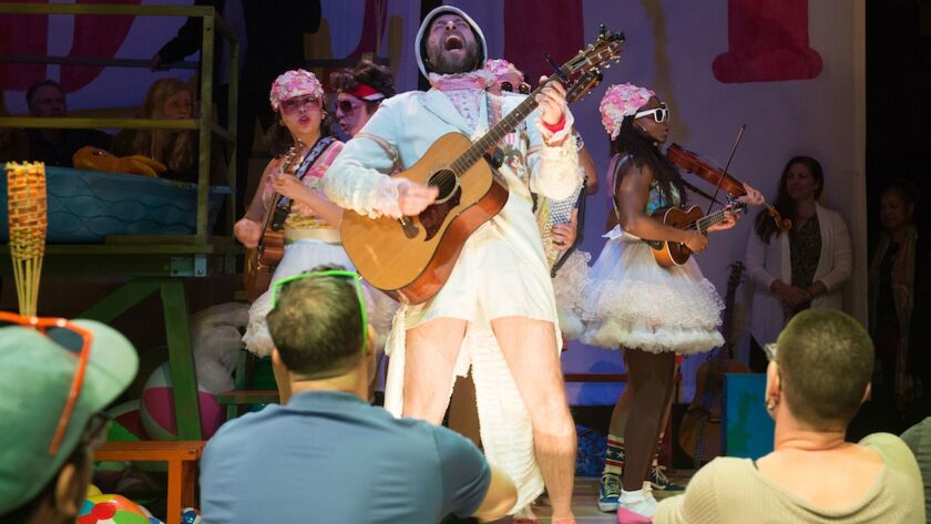 "Musician Matt Kahler, center, in ""Pirates of Penzance"" at Pasadena Playhouse."