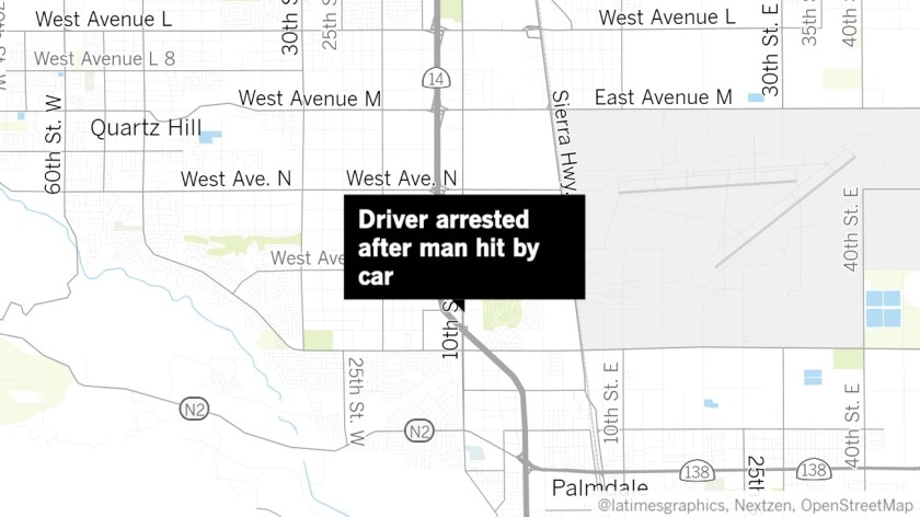 A man was arrested Thursday after allegedly striking a pedestrian in Palmdale.