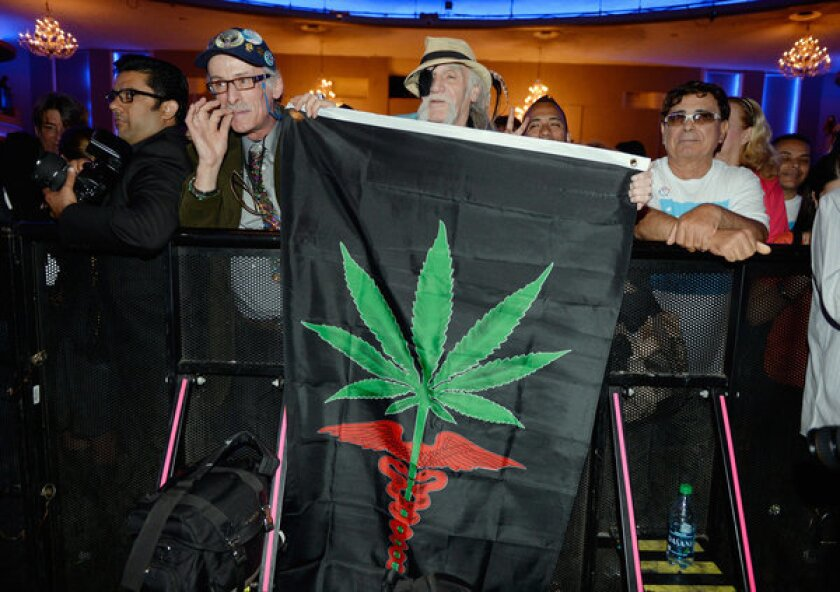 Supporters of Eric Garcetti hold up a medicinal marijuana flag during the election night party at The Hollywood Palladium.
