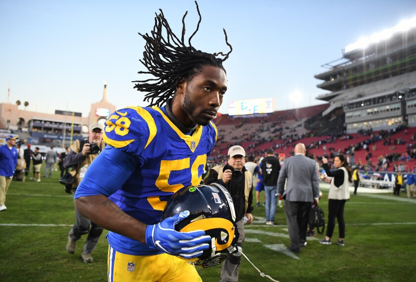 Cory Littleton could be walking off the Coliseum turf for the last time as a Ram on Sunday.