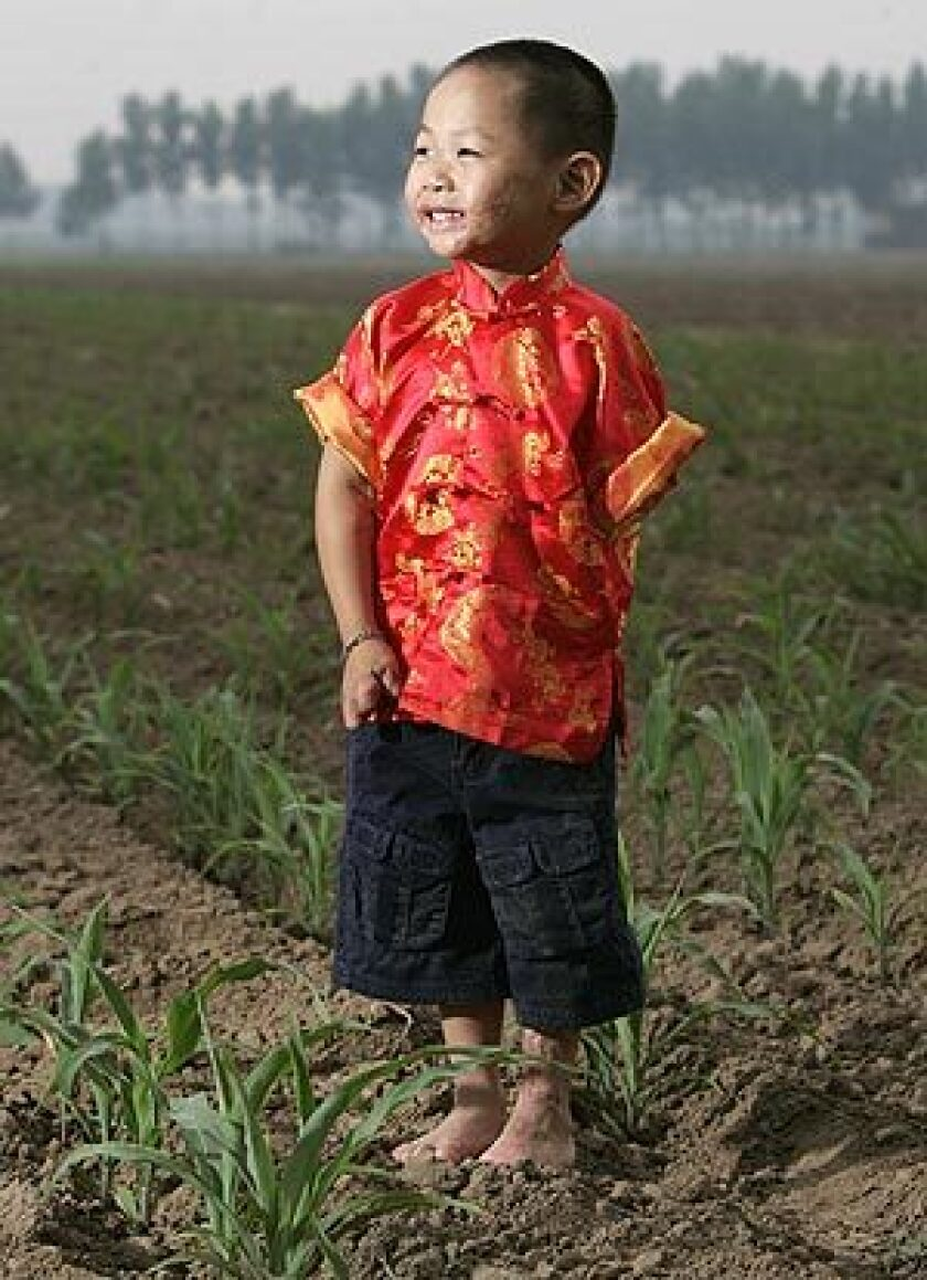 Levi Bentley at age 4 in Langfang, China. He is standing in the field where he was found when he was about 6 weeks old, so badly burned that he wasn't expected to live.