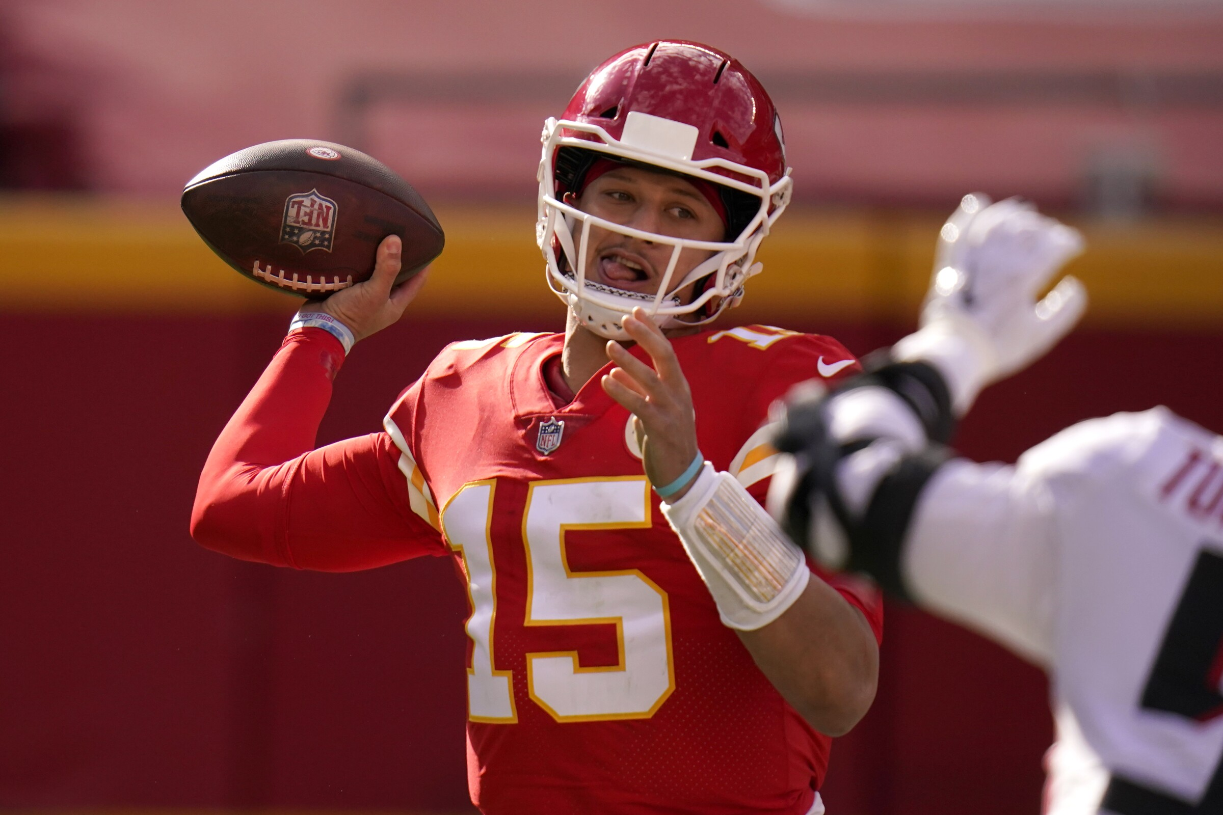 Kansas City Chiefs quarterback Patrick Mahomes throws during the first half of a 17-14 win over Atlanta.