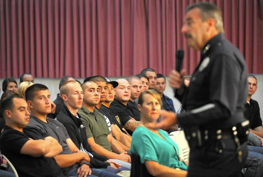 LAPD Chief Charlie Beck addresses officers during training on how to de-escalate tense situations.