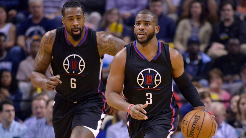 Clippers guard Chris Paul (3), dribbling in front of center DeAndre Jordan, has made 51.9% of his three-point shots since the All-Star break.