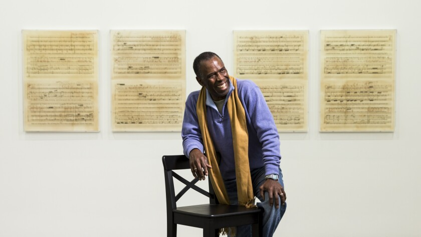Los Angeles conceptual artist Charles Gaines at his 2015 exhibition at Art + Practice, which was co-curated by Jamillah James.