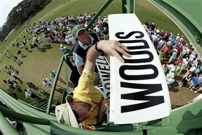 In a photo taken with a fisheye lens, attendants put Tiger Woods name on the scoreboard overlooking the ninth fairway during the second round of the Masters golf tournament Friday, April 8, 2011, in Augusta, Ga. (AP Photo/Charlie Riedel)