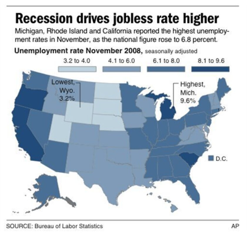 U.S. map shows state-by-state breakdown of unemployment rates; 2 c x 3 3/4 in; 96.3 mm x 95.25 mm