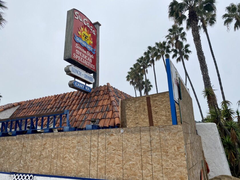 The former Su Casa restaurant in La Jolla is pictured boarded up Jan. 5 after reports of homeless people living inside.