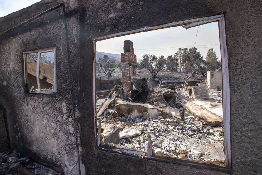 The remains of a burned home in the Bobcat fire in the Angeles National Forest in Juniper Hills.