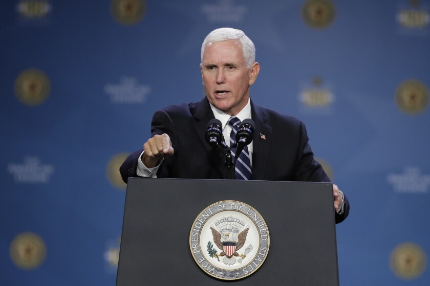Vice President Mike Pence speaks Aug. 28 at the 101st American Legion National Convention in Indianapolis.
