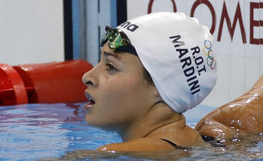 La nadadora refugiada Yusra Mardini tras la competencia de 100m mariposa femenino, en el estadio Olímpico Acuático en Río de Janeiro.
