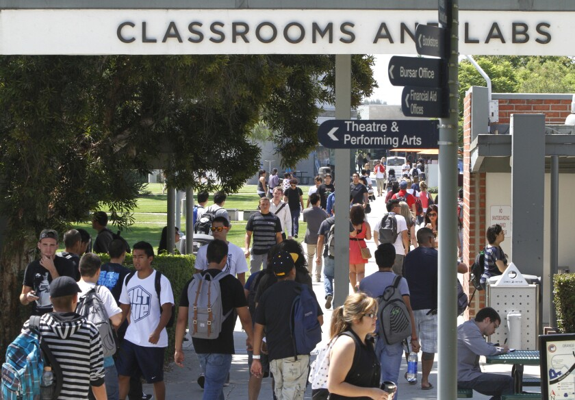 Students walk between classes at Orange Coast Community College.