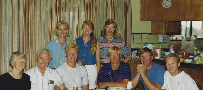 Rena and Pete de Jong, far left, with their seven children in San Marcos.