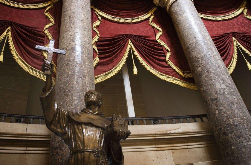 Junipero Serra's statue in the U.S. Capitol's Statuary Hall in Washington.