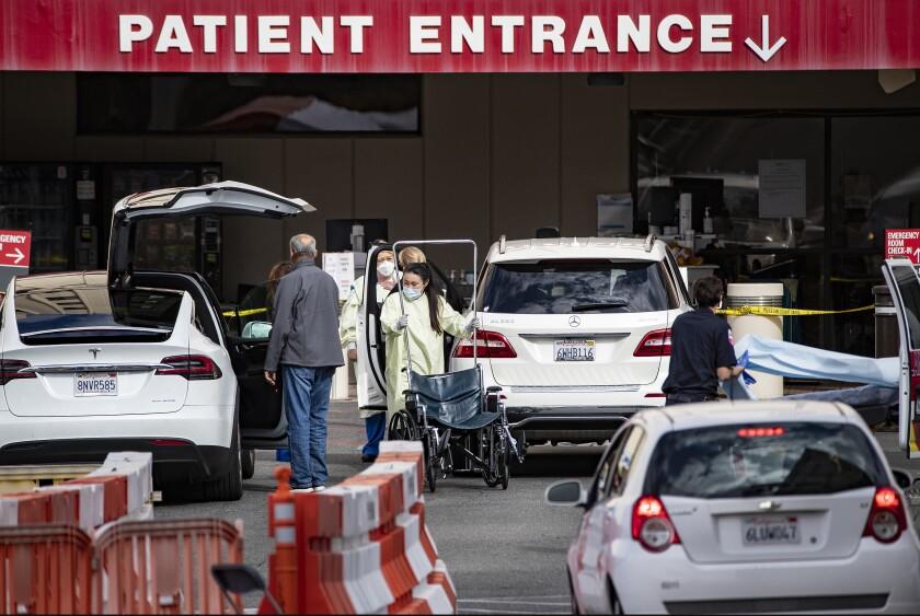 Coronavirus screening center outside a hospital